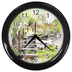 River Bridge Art Abstract Nature Wall Clocks (black)