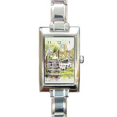 River Bridge Art Abstract Nature Rectangle Italian Charm Watch