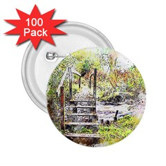 River Bridge Art Abstract Nature 2 25  Buttons (100 Pack)  by Celenk