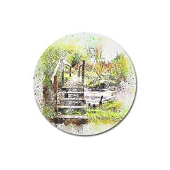River Bridge Art Abstract Nature Magnet 3  (round)