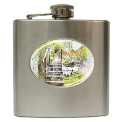 River Bridge Art Abstract Nature Hip Flask (6 Oz) by Celenk