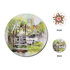 River Bridge Art Abstract Nature Playing Cards (round)