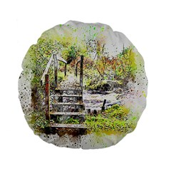 River Bridge Art Abstract Nature Standard 15  Premium Flano Round Cushions by Celenk