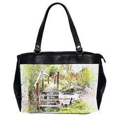 River Bridge Art Abstract Nature Office Handbags (2 Sides)