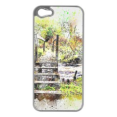 River Bridge Art Abstract Nature Apple Iphone 5 Case (silver) by Celenk