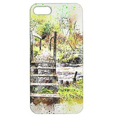 River Bridge Art Abstract Nature Apple Iphone 5 Hardshell Case With Stand