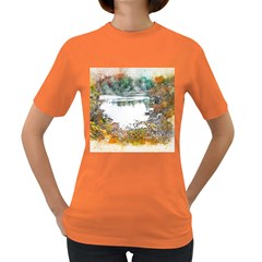 River Water Art Abstract Stones Women s Dark T Shirt
