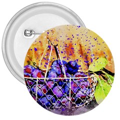 Fruit Plums Art Abstract Nature 3  Buttons by Celenk