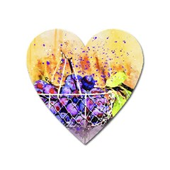 Fruit Plums Art Abstract Nature Heart Magnet by Celenk
