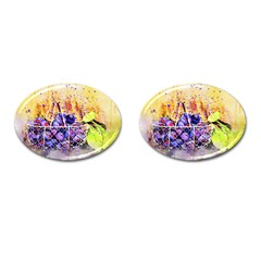 Fruit Plums Art Abstract Nature Cufflinks (oval) by Celenk