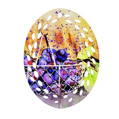 Fruit Plums Art Abstract Nature Oval Filigree Ornament (two Sides) by Celenk