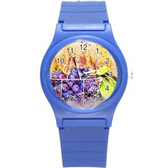 Fruit Plums Art Abstract Nature Round Plastic Sport Watch (s) by Celenk