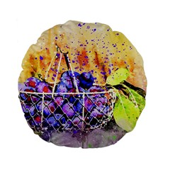 Fruit Plums Art Abstract Nature Standard 15  Premium Flano Round Cushions by Celenk