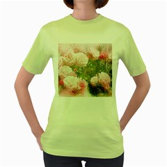 Flowers Roses Art Abstract Nature Women s Green T Shirt