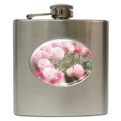 Flowers Roses Art Abstract Nature Hip Flask (6 Oz) by Celenk