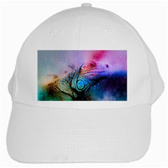 Lizard Reptile Art Abstract Animal White Cap