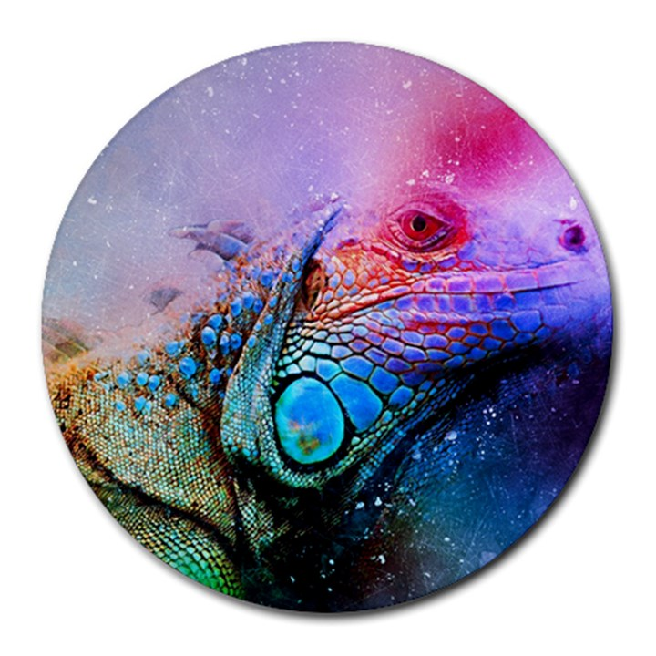 Lizard Reptile Art Abstract Animal Round Mousepads