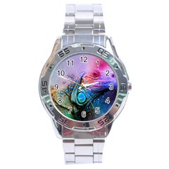 Lizard Reptile Art Abstract Animal Stainless Steel Analogue Watch