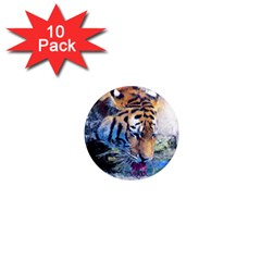 Tiger Drink Animal Art Abstract 1  Mini Magnet (10 Pack)  by Celenk