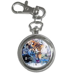 Tiger Drink Animal Art Abstract Key Chain Watches
