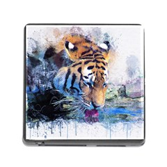 Tiger Drink Animal Art Abstract Memory Card Reader (square)