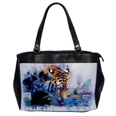Tiger Drink Animal Art Abstract Office Handbags by Celenk