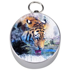 Tiger Drink Animal Art Abstract Silver Compasses by Celenk