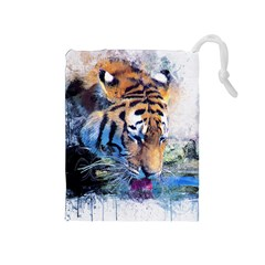 Tiger Drink Animal Art Abstract Drawstring Pouches (medium)  by Celenk