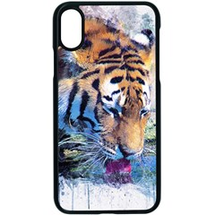 Tiger Drink Animal Art Abstract Apple Iphone X Seamless Case (black) by Celenk