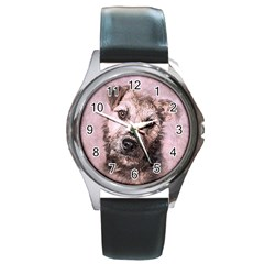 Dog Pet Terrier Art Abstract Round Metal Watch by Celenk