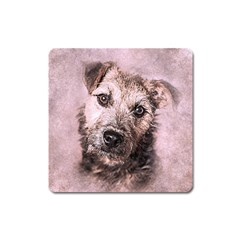 Dog Pet Terrier Art Abstract Square Magnet