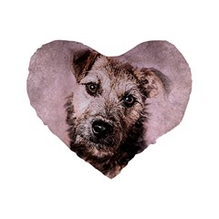 Dog Pet Terrier Art Abstract Standard 16  Premium Heart Shape Cushions by Celenk