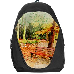 Tree Park Bench Art Abstract Backpack Bag by Celenk