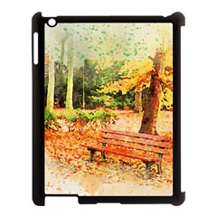 Tree Park Bench Art Abstract Apple Ipad 3/4 Case (black) by Celenk