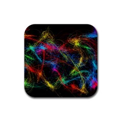 Background Light Glow Abstract Art Rubber Coaster (square)  by Celenk