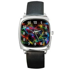 Background Light Glow Abstract Art Square Metal Watch by Celenk