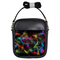 Background Light Glow Abstract Art Girls Sling Bags
