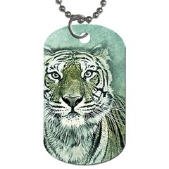Tiger Cat Art Abstract Vintage Dog Tag (two Sides)