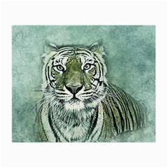 Tiger Cat Art Abstract Vintage Small Glasses Cloth by Celenk