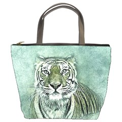 Tiger Cat Art Abstract Vintage Bucket Bags