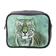 Tiger Cat Art Abstract Vintage Mini Toiletries Bag 2 Side