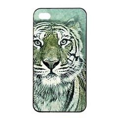 Tiger Cat Art Abstract Vintage Apple Iphone 4/4s Seamless Case (black) by Celenk