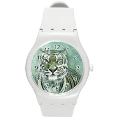 Tiger Cat Art Abstract Vintage Round Plastic Sport Watch (m) by Celenk