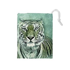 Tiger Cat Art Abstract Vintage Drawstring Pouches (medium)  by Celenk