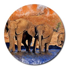 Elephants Animal Art Abstract Round Mousepads by Celenk