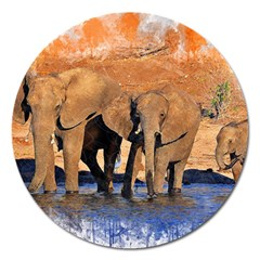 Elephants Animal Art Abstract Magnet 5  (round) by Celenk