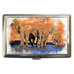 Elephants Animal Art Abstract Cigarette Money Cases by Celenk