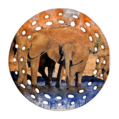 Elephants Animal Art Abstract Round Filigree Ornament (two Sides) by Celenk