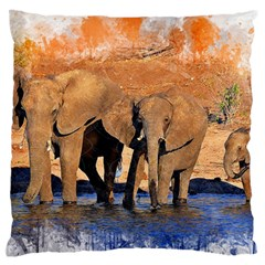 Elephants Animal Art Abstract Standard Flano Cushion Case (two Sides) by Celenk