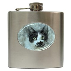 Cat Pet Art Abstract Vintage Hip Flask (6 Oz)